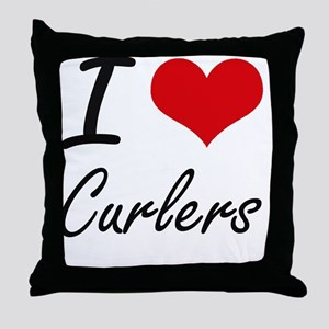 I love Curlers Throw Pillow