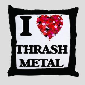 I Love My THRASH METAL Throw Pillow