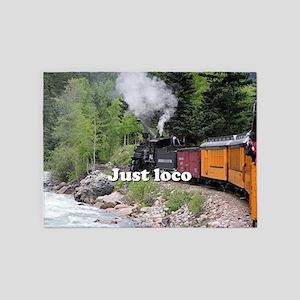 Just loco: Steam train Colorado 5'x7'Area Rug