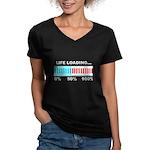 Life Loading Women's V-Neck Dark T-Shirt