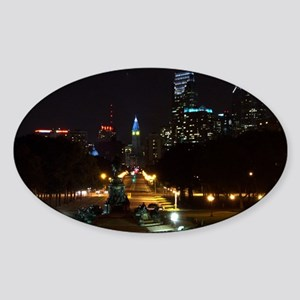 A Night View Of Philly Oval Sticker