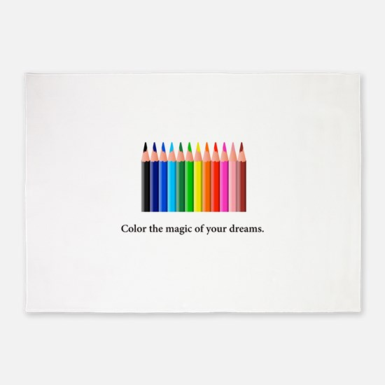 Color The Magic Rainbow Pencil Gifts 5'x7'Area Rug