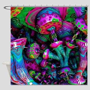 Magic Shrooms Cubensis Mushrooms Funshower Curtain