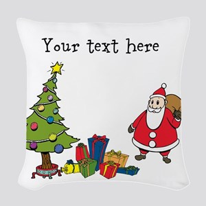 Personalized Holiday Santa Woven Throw Pillow