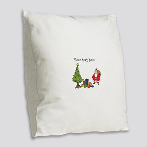 Personalized Holiday Santa Burlap Throw Pillow