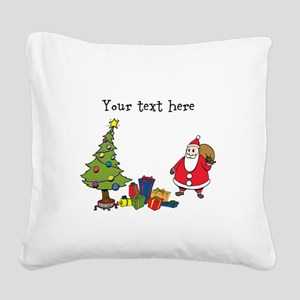 Personalized Holiday Santa Square Canvas Pillow