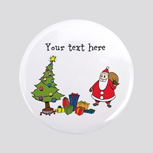 Personalized Holiday Santa Button