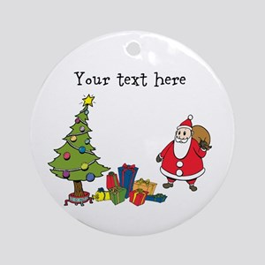 Personalized Holiday Santa Round Ornament