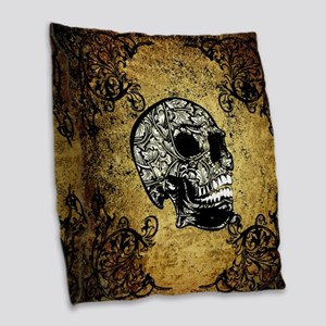 Sugar skull Burlap Throw Pillow
