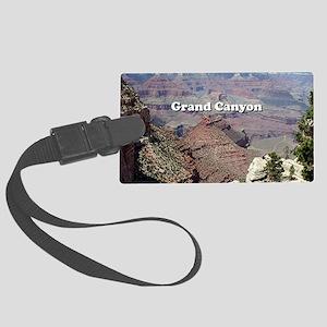 Grand Canyon South Rim 3 (captio Large Luggage Tag