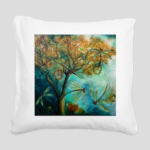 Dragonfly Flirtation Square Canvas Pillow