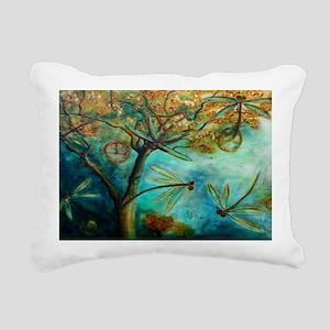Dragonfly Flirtation Rectangular Canvas Pillow