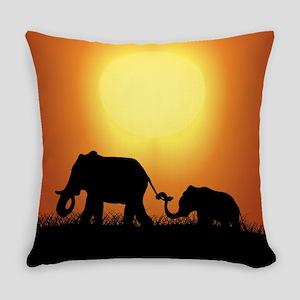 African Sunset Elephants Everyday Pillow