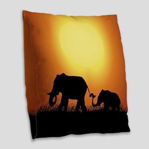 African Sunset Elephants Burlap Throw Pillow