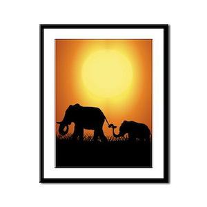 African Sunset Elephants Framed Panel Print