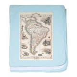 Vintage map south america Cotton
