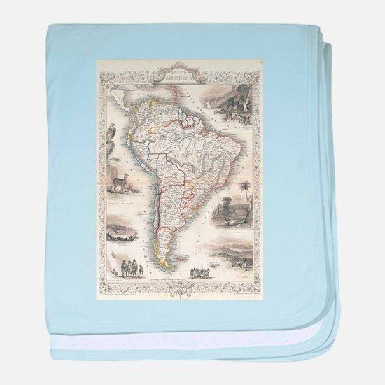 Vintage Map of South America (1850) baby blanket