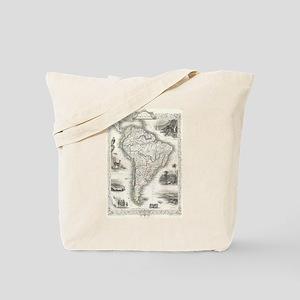 Vintage Map of South America (1850) Tote Bag