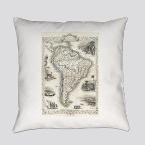 Vintage Map of South America (1850 Everyday Pillow