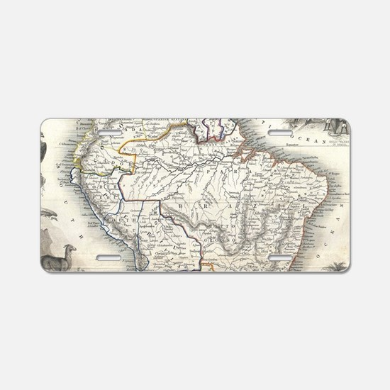 Vintage Map of South Americ Aluminum License Plate