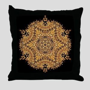 Golden Shield Mandala Art Throw Pillow