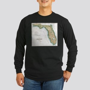 Vintage Map of Florida (1848) Long Sleeve T-Shirt