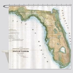 Vintage Map of Florida (1848) Shower Curtain