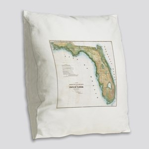 Vintage Map of Florida (1848) Burlap Throw Pillow