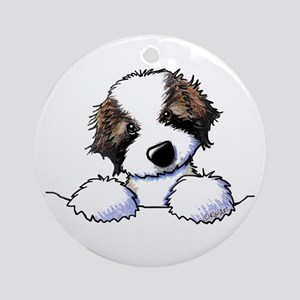 St. Bernard Puppy Pocket Round Ornament