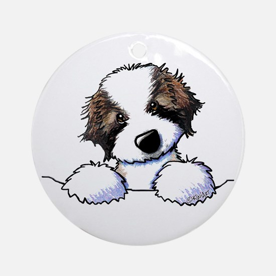 St. Bernard Puppy Pocket Round Ornament