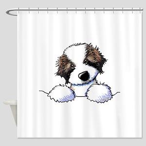 St. Bernard Puppy Pocket Shower Curtain