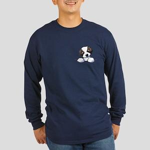 St. Bernard Puppy Pocket Long Sleeve T-Shirt