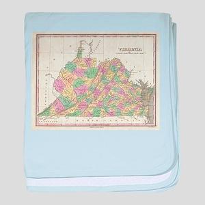 Vintage Map of Virginia (1827) baby blanket