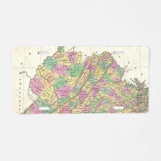 Vintage Map of Virginia (18 Aluminum License Plate