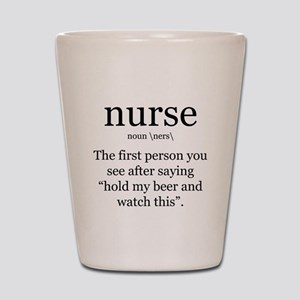 nurse definition Shot Glass