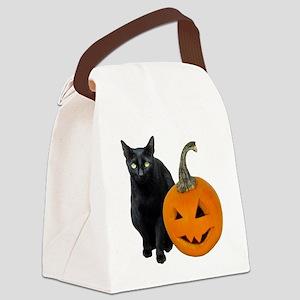 Black Cat Jack-o-Lantern Canvas Lunch Bag