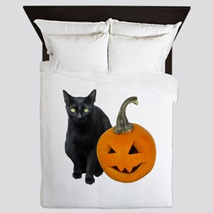 Black Cat Jack-o-Lantern Queen Duvet