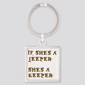 If She's a Jeeper Square Keychain