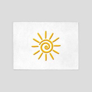 3D Yellow Sun Drawing 5'x7'Area Rug
