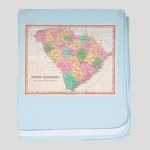 Vintage Map of South Carolina (1827) baby blanket