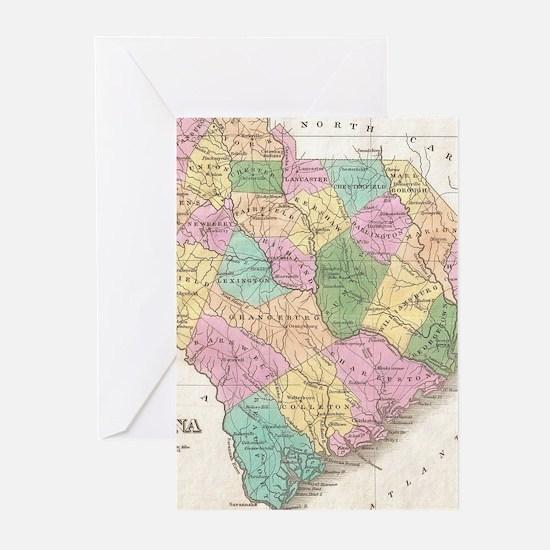 Vintage Map of South Carolina (1827 Greeting Cards
