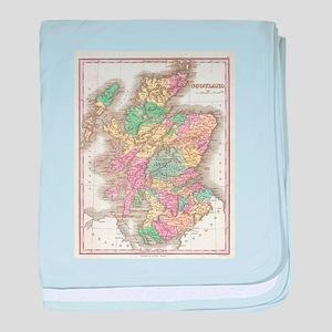 Vintage Map of Scotland (1827) baby blanket
