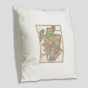 Vintage Map of Scotland (1827) Burlap Throw Pillow
