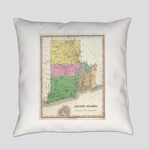 Vintage Map of Rhode Island (1827) Everyday Pillow