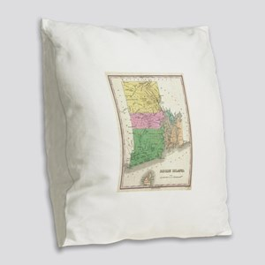 Vintage Map of Rhode Island (1 Burlap Throw Pillow