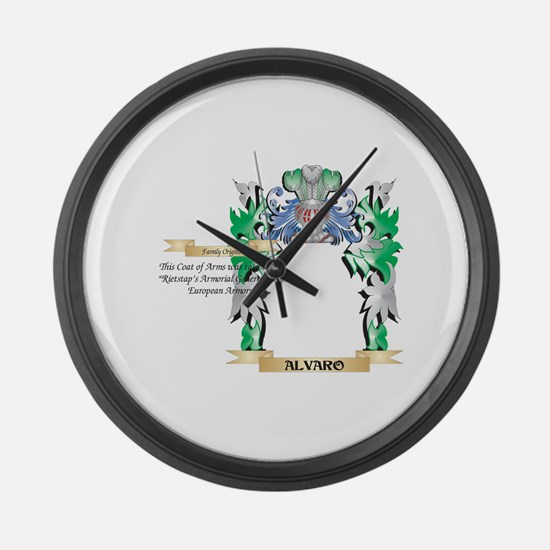 Alvaro Coat of Arms - Family Cres Large Wall Clock