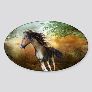 Beautiful brown horse running in the sunset Sticke