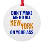 New York Baseball Round Ornament