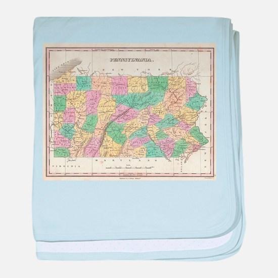 Vintage Map of Pennsylvania (1827) baby blanket