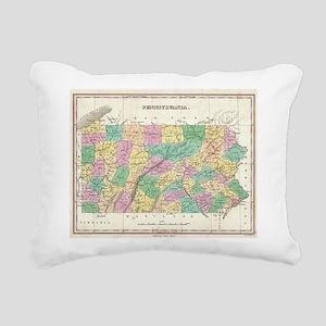 Vintage Map of Pennsylva Rectangular Canvas Pillow